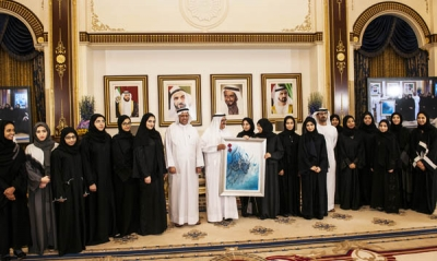 H.H. Sheikh Hamdan Bin Rashid receives the female participants in the Multiculturalism and leadership skills program
