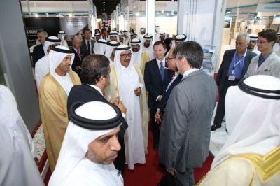 "H.H. Sheikh Hamdan bin Rashid opens the exhibitions of ""INDEX"" and ""Middle East Stone"""